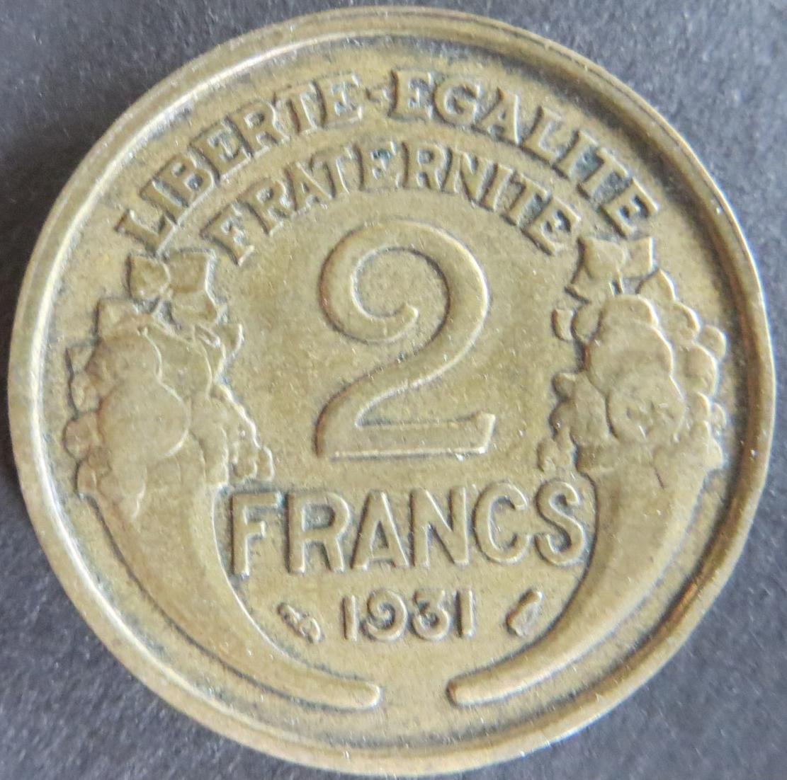 Münze Frankreich 2 Francs 1931 II. Schön: 201