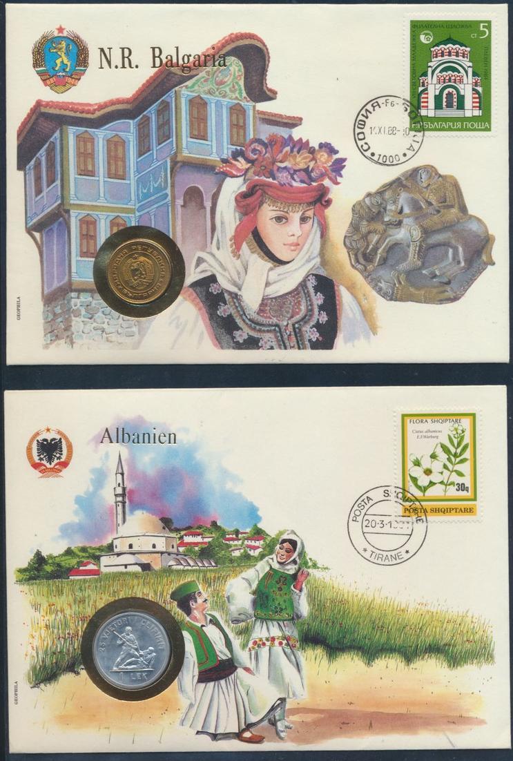 2 Numisbriefe Albanien und Bulgarien schöne Motive