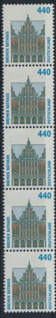 Bund Rollenmarken 5er Streifen 440 Pf Sehenswürdigkeiten 1937 A R postfrisch