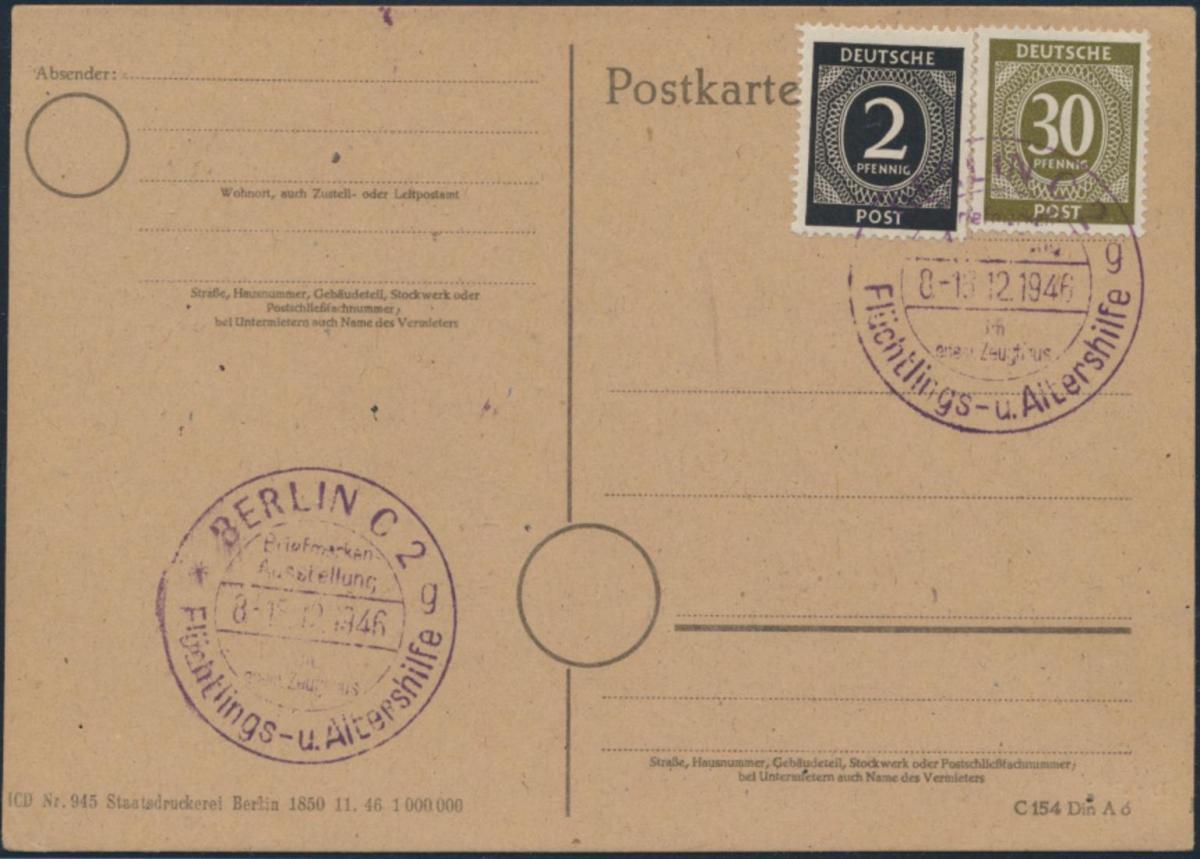 Besetzung Postkarte 912+928a SST Berlin Flüchtlings- u Altershilfe 8.-15.12.1946