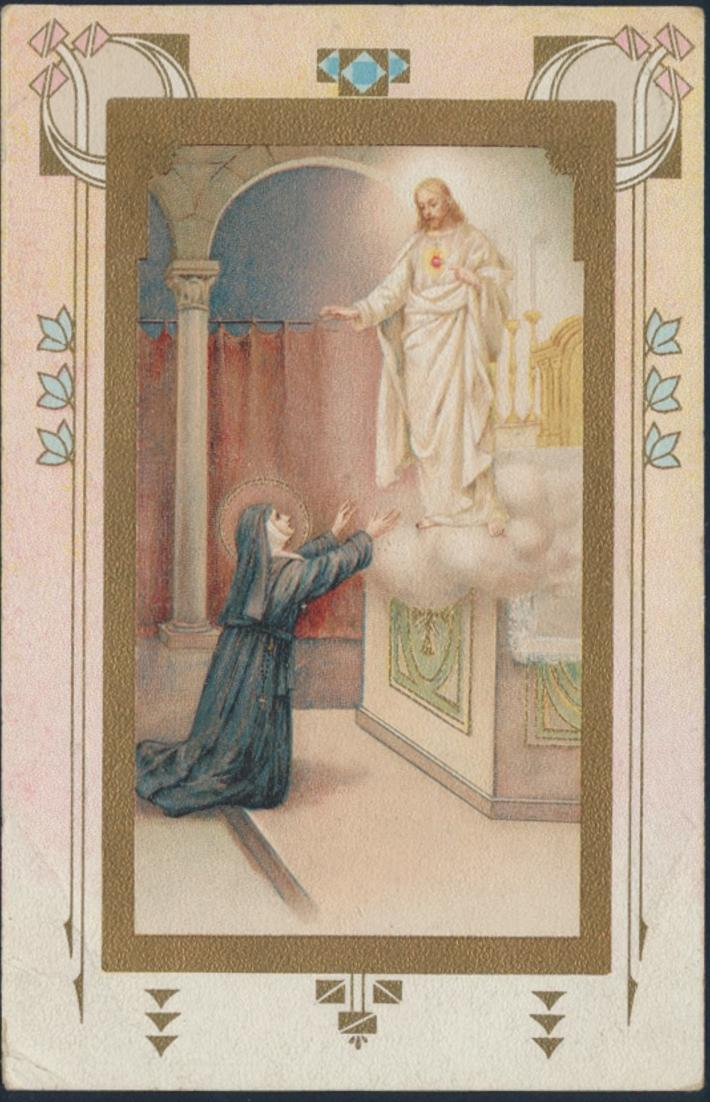 Ansichtskarte Leuven Louvain 1922 Nonne betet zu Jesus auf Wolke Belgien
