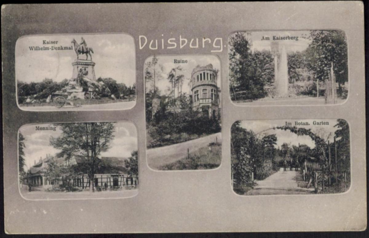 Ansichtskarte Duisburg Ruhrgebiet Kaiser Wilhelm Denkmal NRW 1908 n. Brüssel