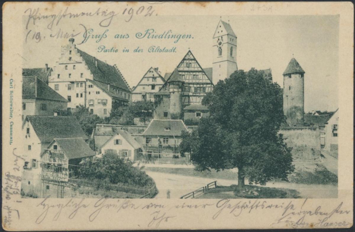 Ansichtskarte Riedlingen 1902 nach Ulm 0