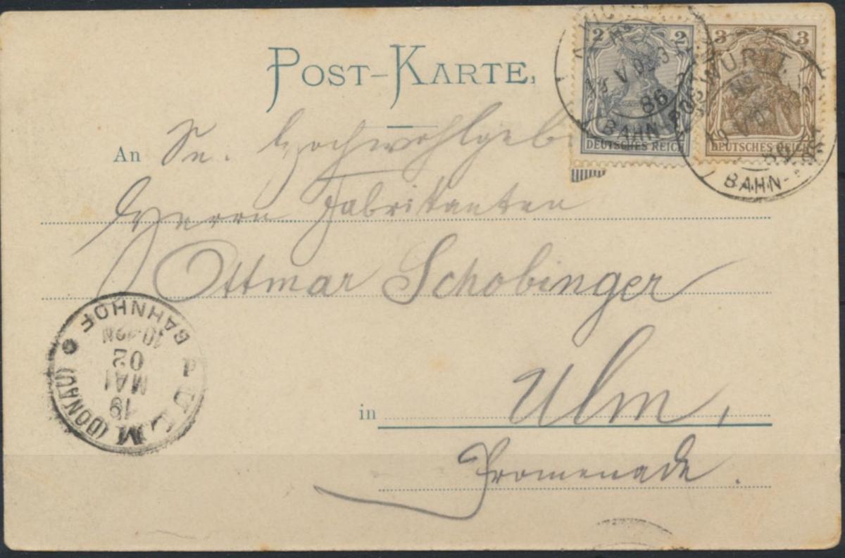 Ansichtskarte Riedlingen 1902 nach Ulm 1