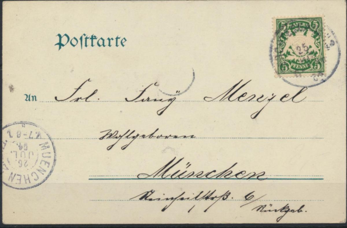 Ansichtskarte Berchtesgarden 1904 nach München 1