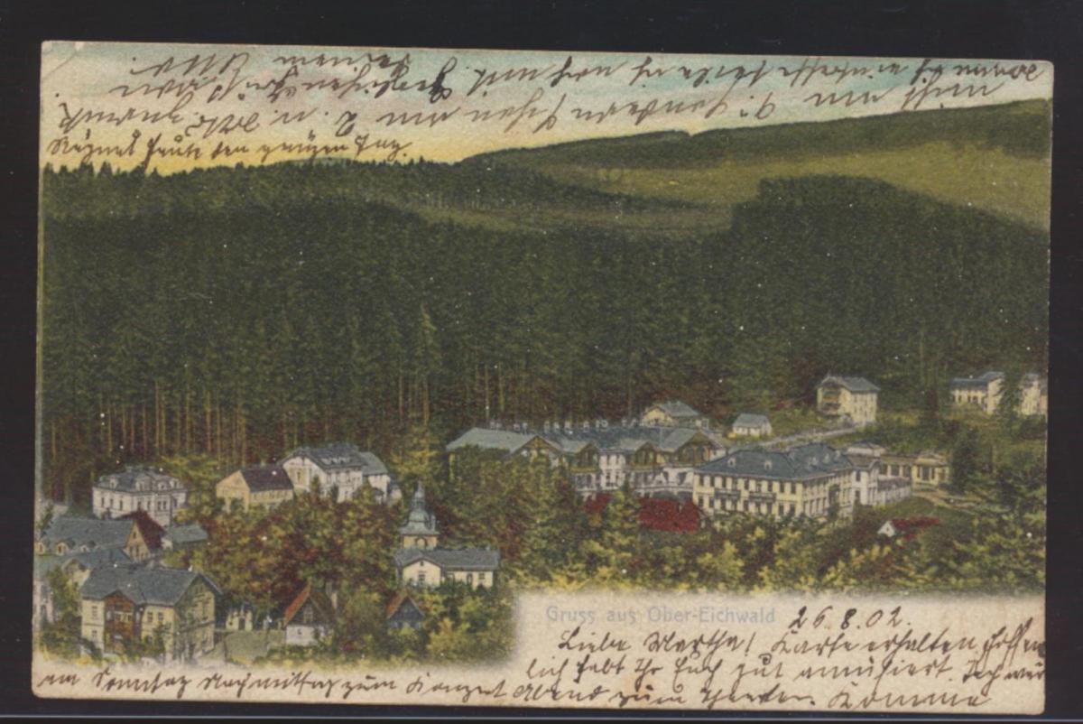 Ansichtskarte Ober Eichwald Dubí Ústecký kraj Nordböhmen nach Brandenburg Havel