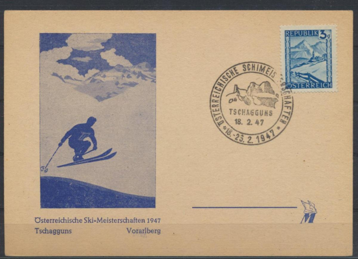 Österreich Karte Motiv Wintersport Skifahren Skimeisterschaft 1947 Schagguns