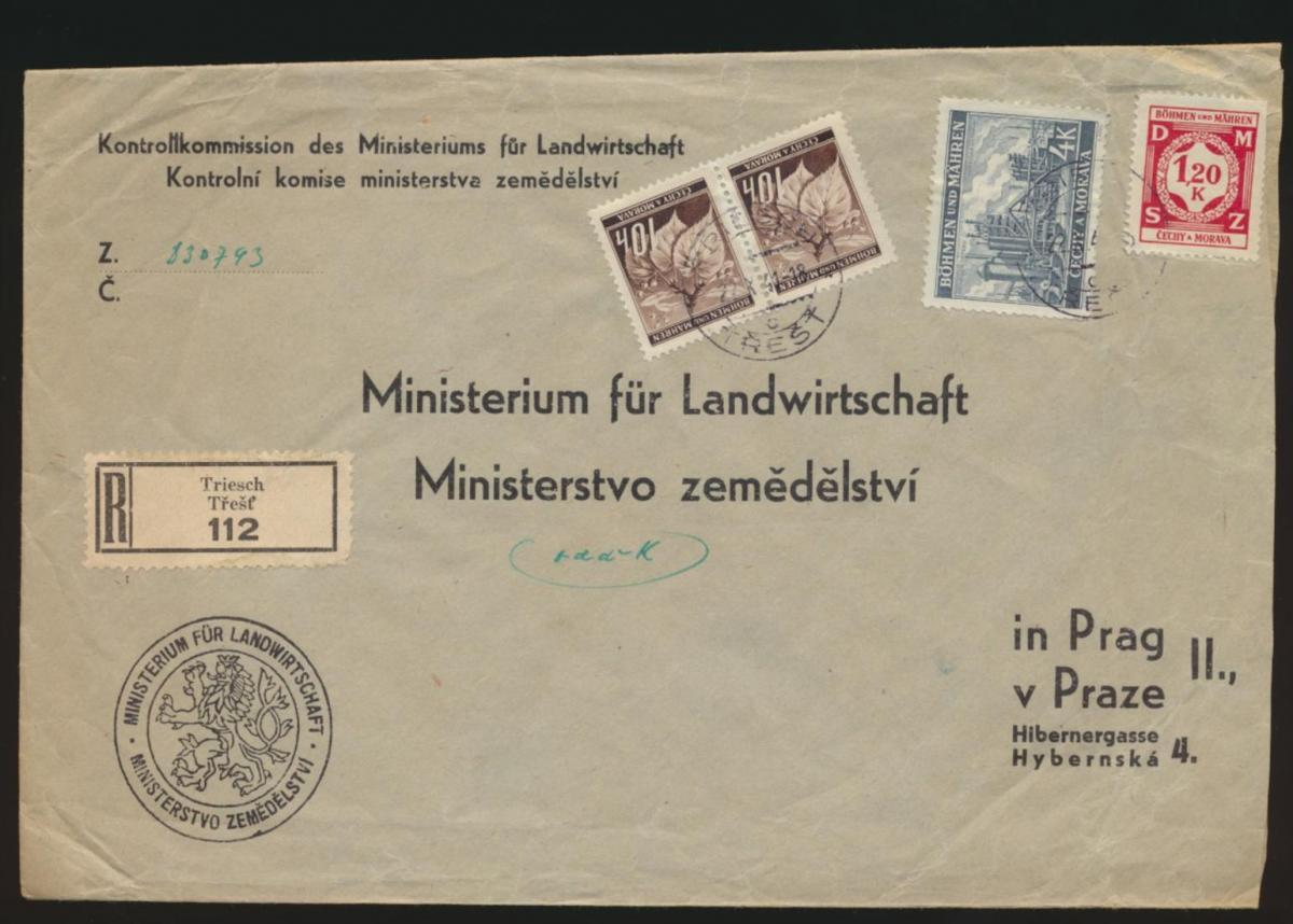 Besetzung Böhmen & Mähren R Brief MIF 4 K + Dienst 1,20 K + Paar Triesch Prag
