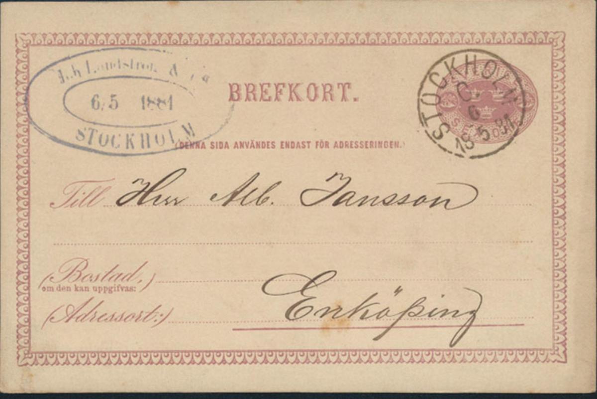 Schweden Ganzsache P 7 I von Stockholm 18.5.1881