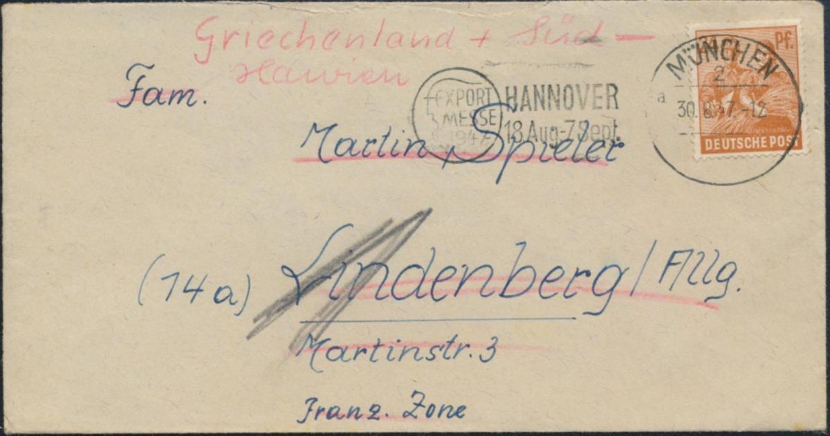 Alliierte Besetzung Brief 951a München Lindenberg Allgäu Hannover Export-Messe