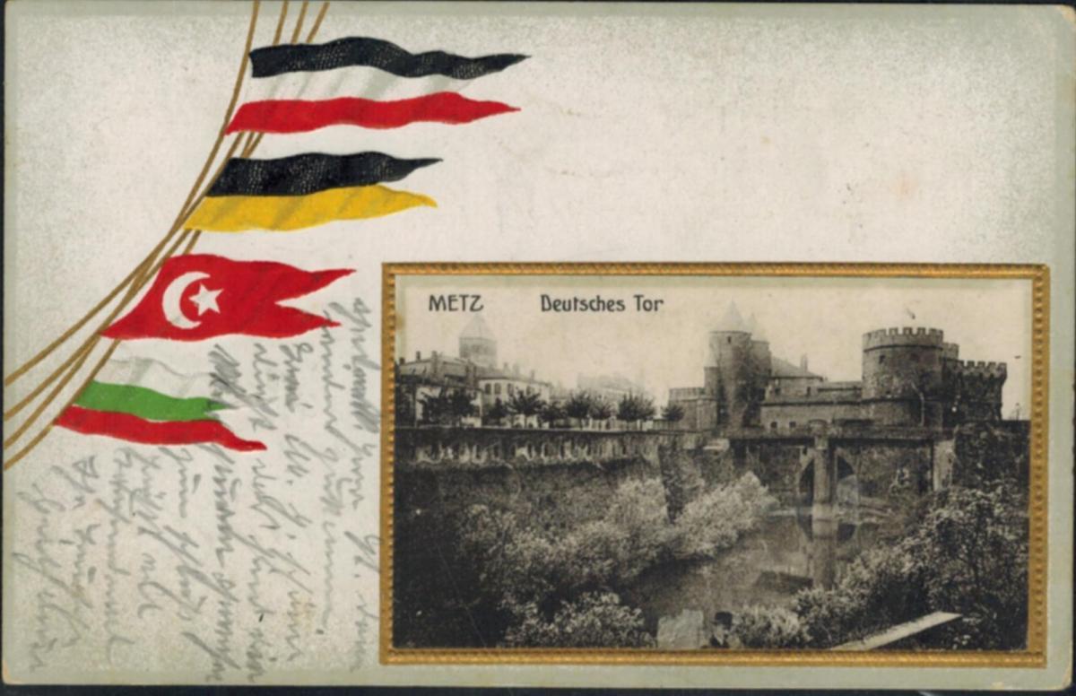 Ansichtskarte Metz schöne Prägekarte im Goldrahmen Deutsches Tor