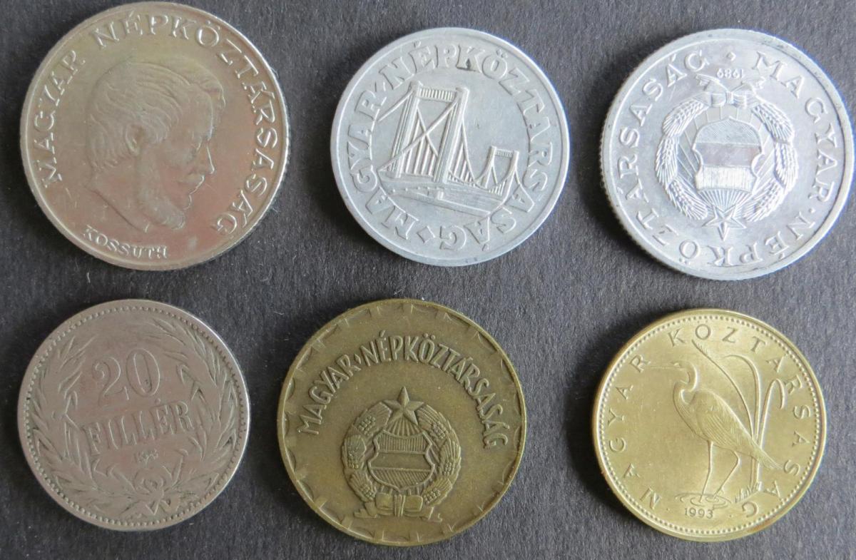 6 Münzen Ungarn 1894-1993 20 Filler - 5 Forint