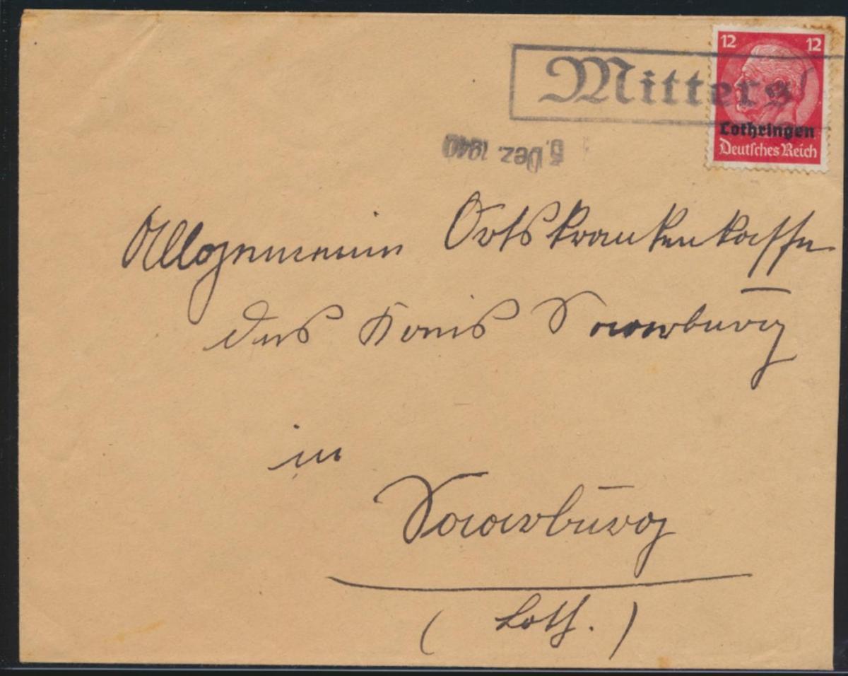 Deutsche Besetzunug II Weltkrieg Aufdruck Lothringen R1 Mittersheim Frankreich