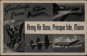 Ansichtskarte Militaria II WK USA Army Air Base Presque Isle Maine 1943