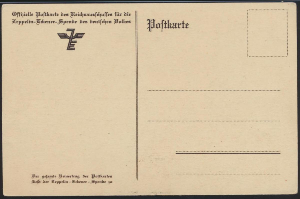 Flugpost Zeppelin air mail Ansichtskarte Reichsausschuß Eckener Spende 1