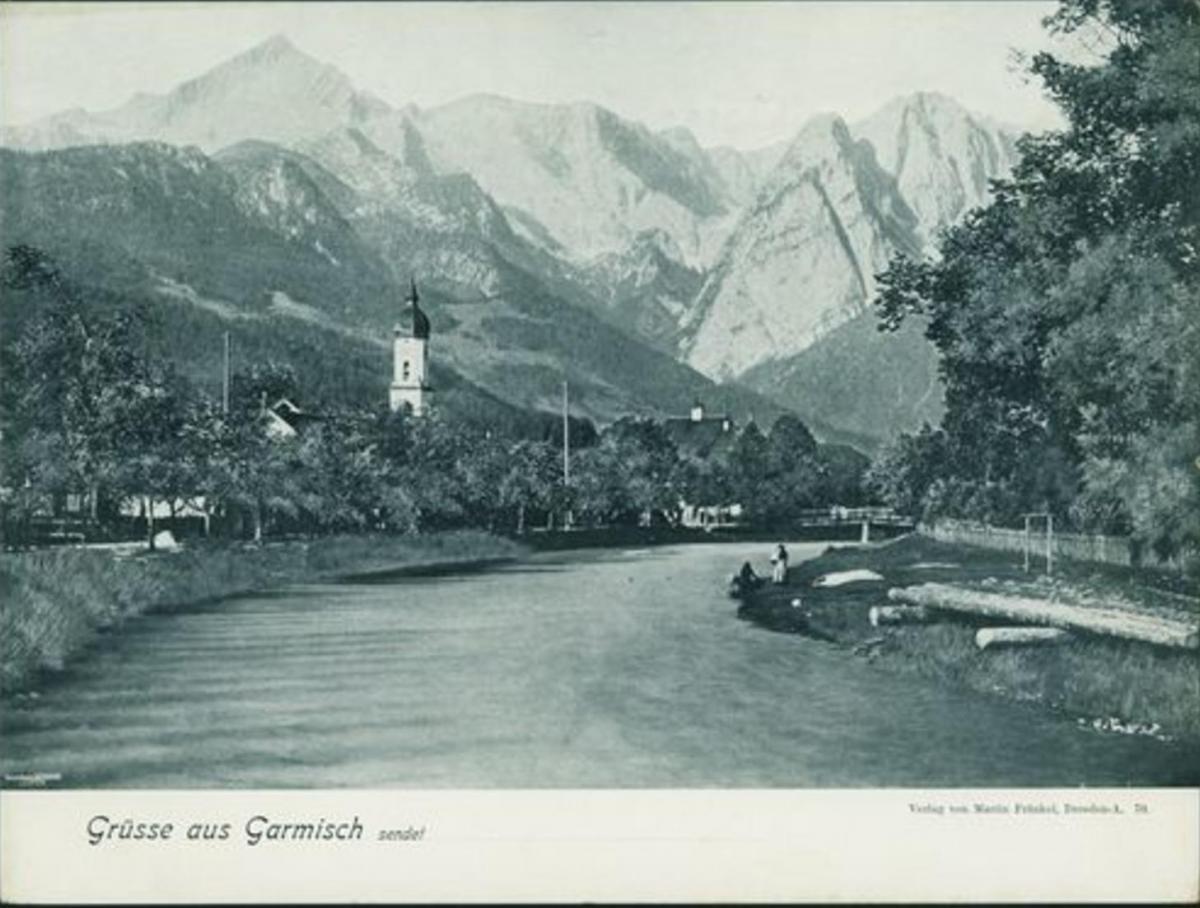 Alte Ansichtskarte Garmisch Bayern Großformat 32x23,8cm ca. 1910 Verlag Fränkel 0