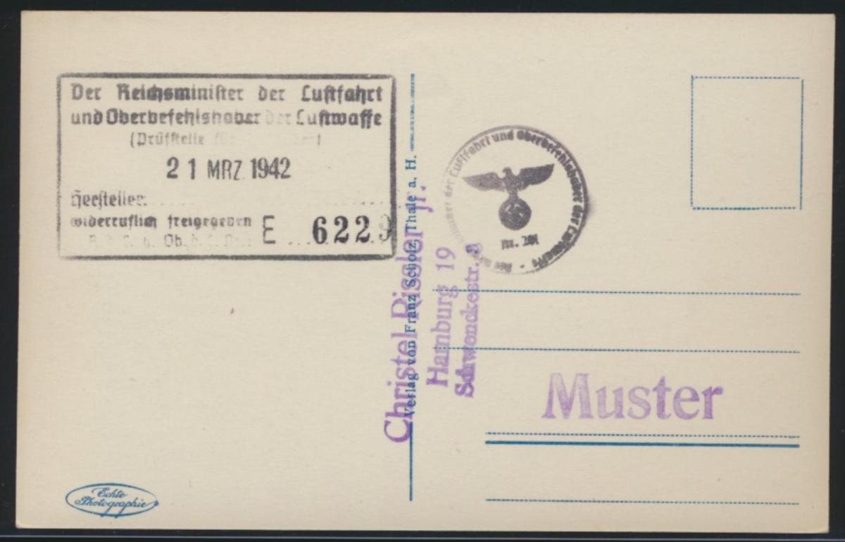 Flugpost air mail Abs. Oberbefehlshaber Luftfahrt Ansichtskarte Altenbrak Holste 1