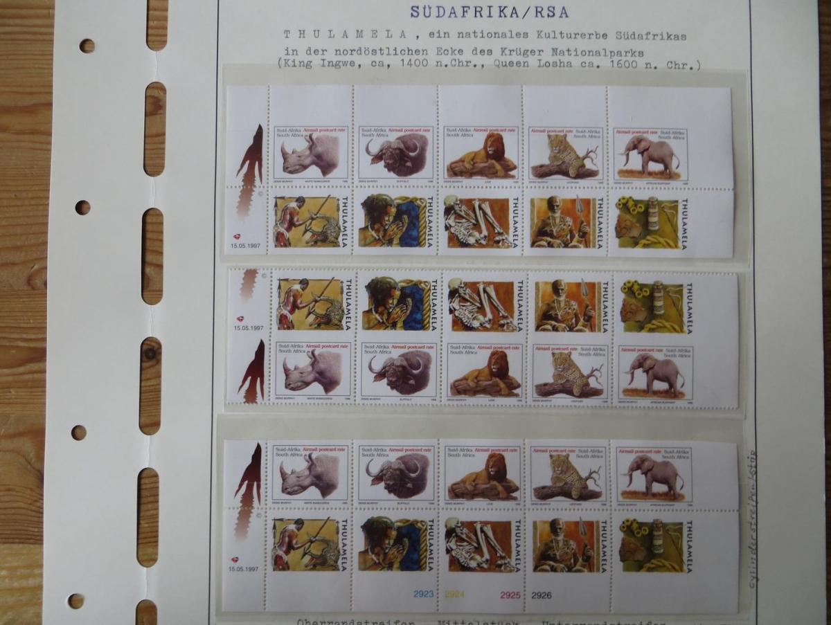 Südafrika 993-997 Wildtiere Spezial Lot mit Ober und Unterrandstreifen + Mittel-