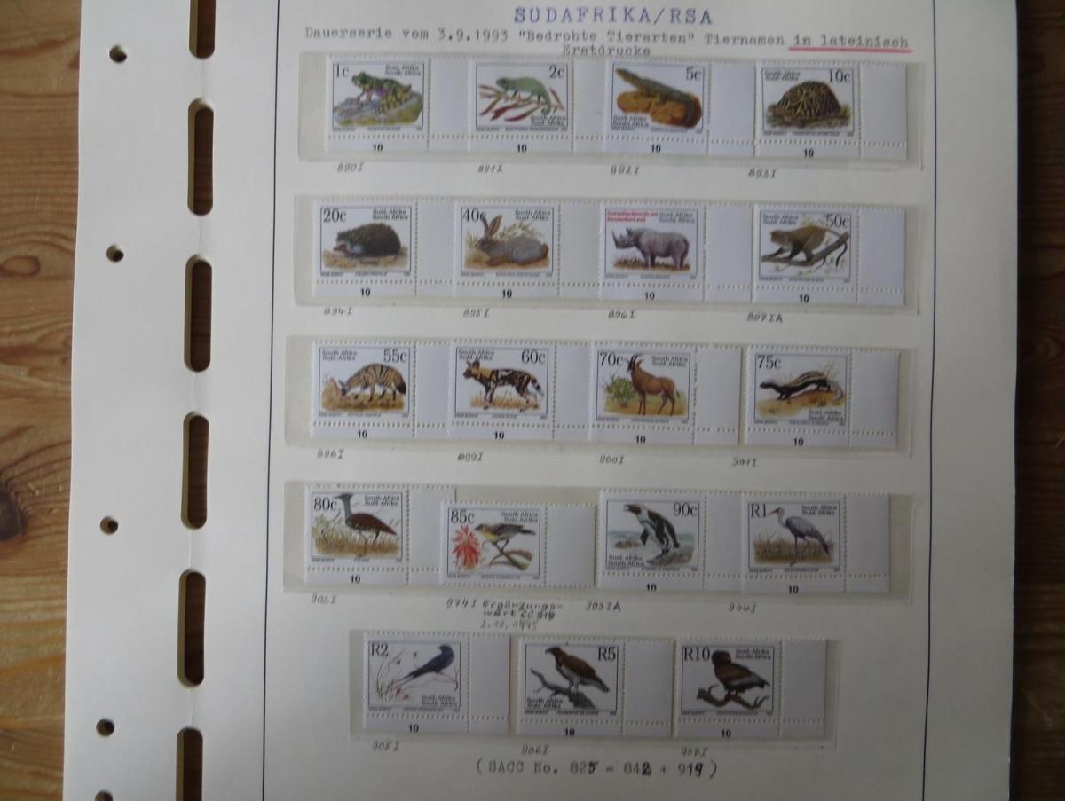 Südafrika Spezial Sammlung Bedrohte Tiere sehr vielfältig mit Erstdrucken Papier