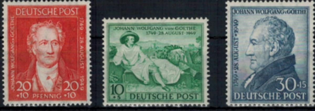Bizone 108-110 Geburtstag J.W. von Goethe 1949 komplett tadellos postfrisch 42,-