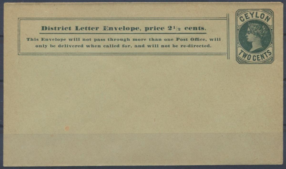 Sri Lanka Ceylon Ganzsache Umschlag 29 a Queen Victoria 2c grün 1894 0