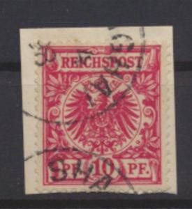 Kolonien DAP China Mitläufer M 47 d Briefstück Shanghai April 1898 Kat-Wert100,-