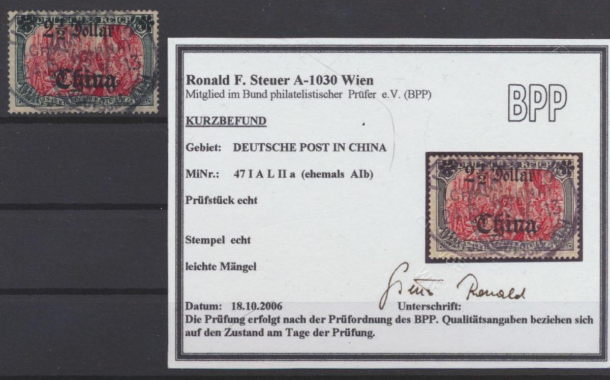 Kolonien DAP China V 47 I A L II a Audruck 2 1/2 Dollar Befund Steuer Kat 130,00