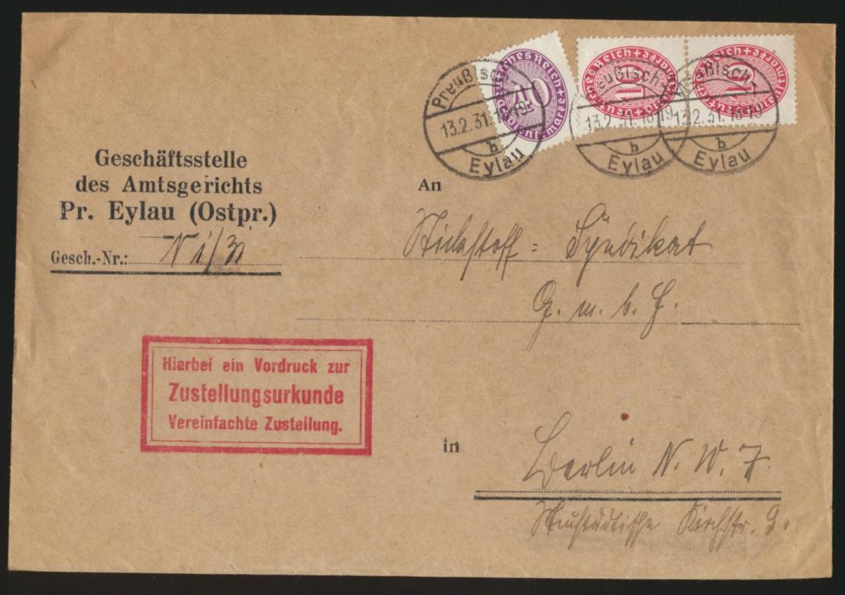 Reich Brief MIF Dienst D 123 Strohhutmuster senkr. Paar  Preußisch Eylau Berlin