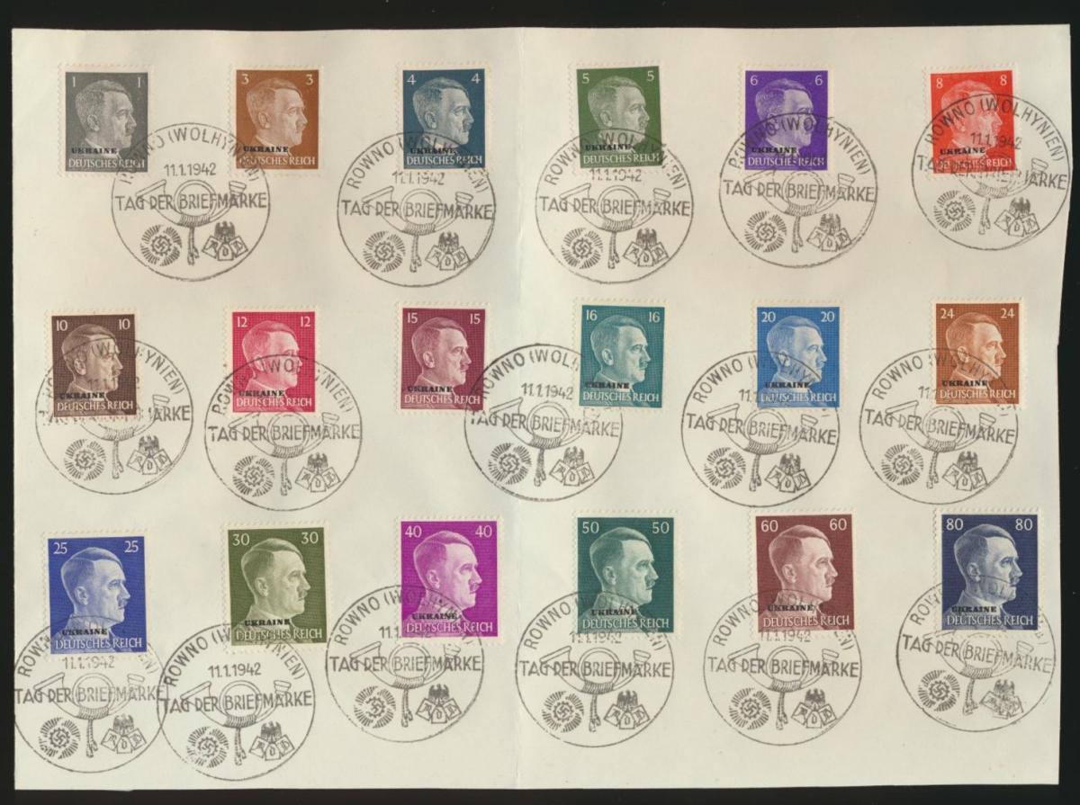 Besetzung Ukraine 1-18Satzbrief mit 18 gut abgeschl. SST Riga Tag der Briefmarke
