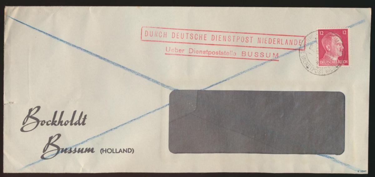 Besetzung Deutsche Dienstpost Niederlande über Dienstpoststelle Bussum 0