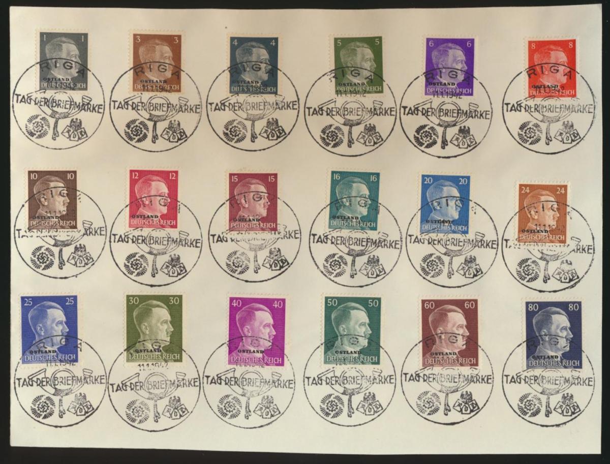 Besetzung Ostland 1-18 Satzbrief mit 18 gut abgeschl SST Riga Tag der Briefmarke 0