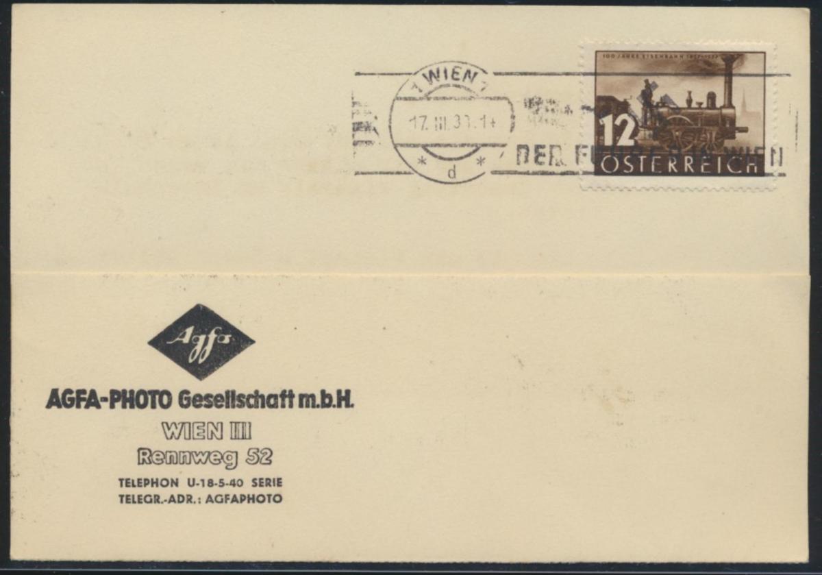 Österreich Brief Karte mit EF 646 Eisenbahn ab Wien 17.3.1938