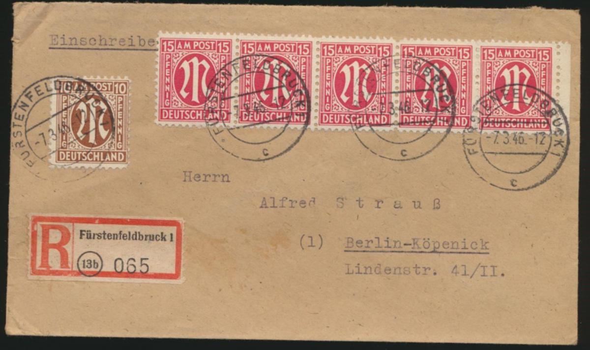 Bizone AM Post R Brief 5er Streifen 15 Pfg. Fürstenfeldbrück Berlin Köpenick
