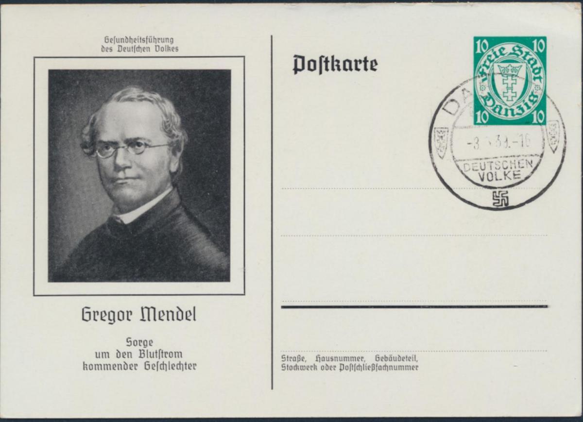Danzig Ganzsache P 62 02 Kongress Ärzte Naturforscher Zoppot Mendel NS-