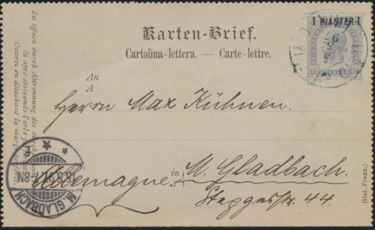 Österreich Levante Ganzsache Kartenbrief K 3 II nach Gladbach 1897