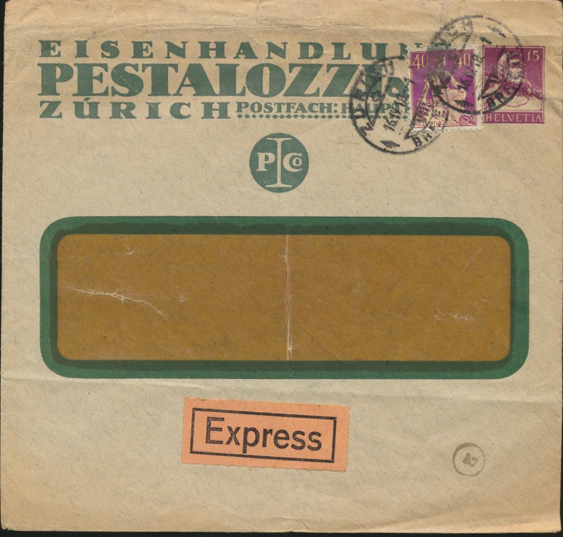 Schweiz Brief Privatganzsache Express 15c Tell ZuF 101X Zürich n Mainz 16.4.1918 0