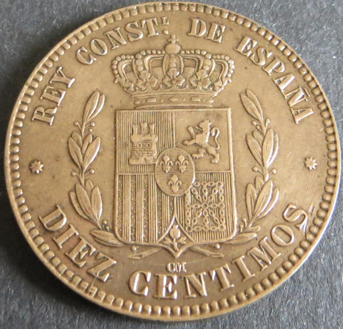 Münze Spanien Alfonso XII 10 Centimos 1879 unz. Schön: 162 1
