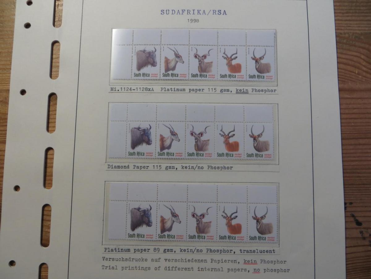 Südafrika 1124-8 Tiere Spezial Lot Versuchsdrucke mit Streifen in selt. Papieren 0