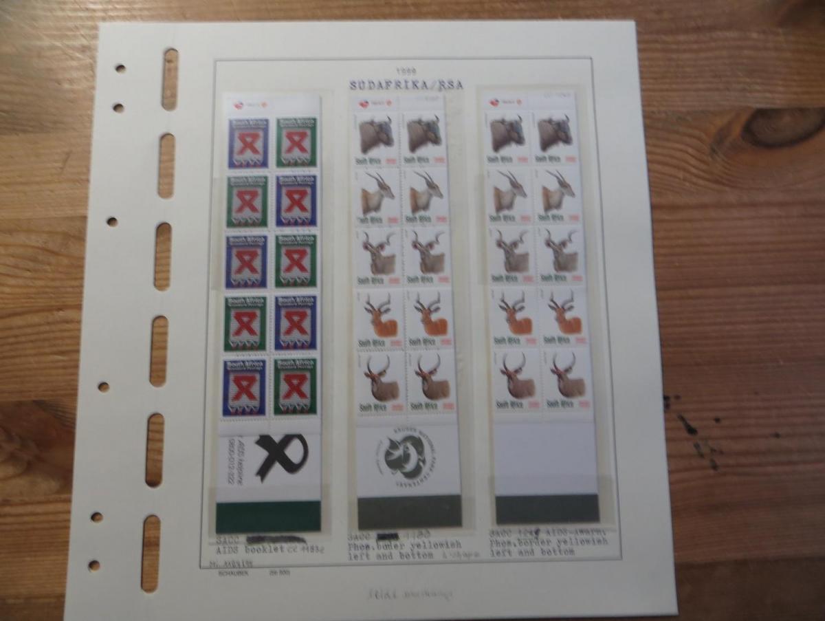 Südafrika 1124-8 Tiere Spezial Lot Versuchsdrucke mit Streifen in selt. Papieren 3