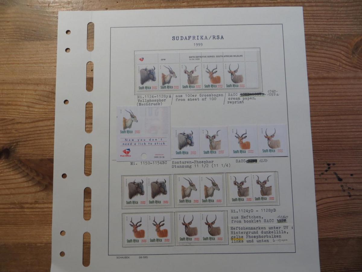 Südafrika 1124-8 Tiere Spezial Lot Versuchsdrucke mit Streifen in selt. Papieren 4