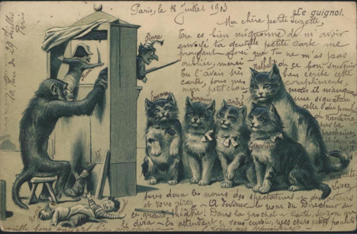 Ansichtskarte Katzen Affen Prägekarte Kasperle Theater Spielzeug Teufel 0