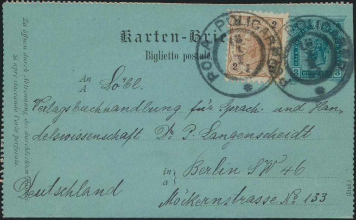 Österreich Ganzsache Kartenbrief K 17 + ZuF Pola nach Berlin 1897 0
