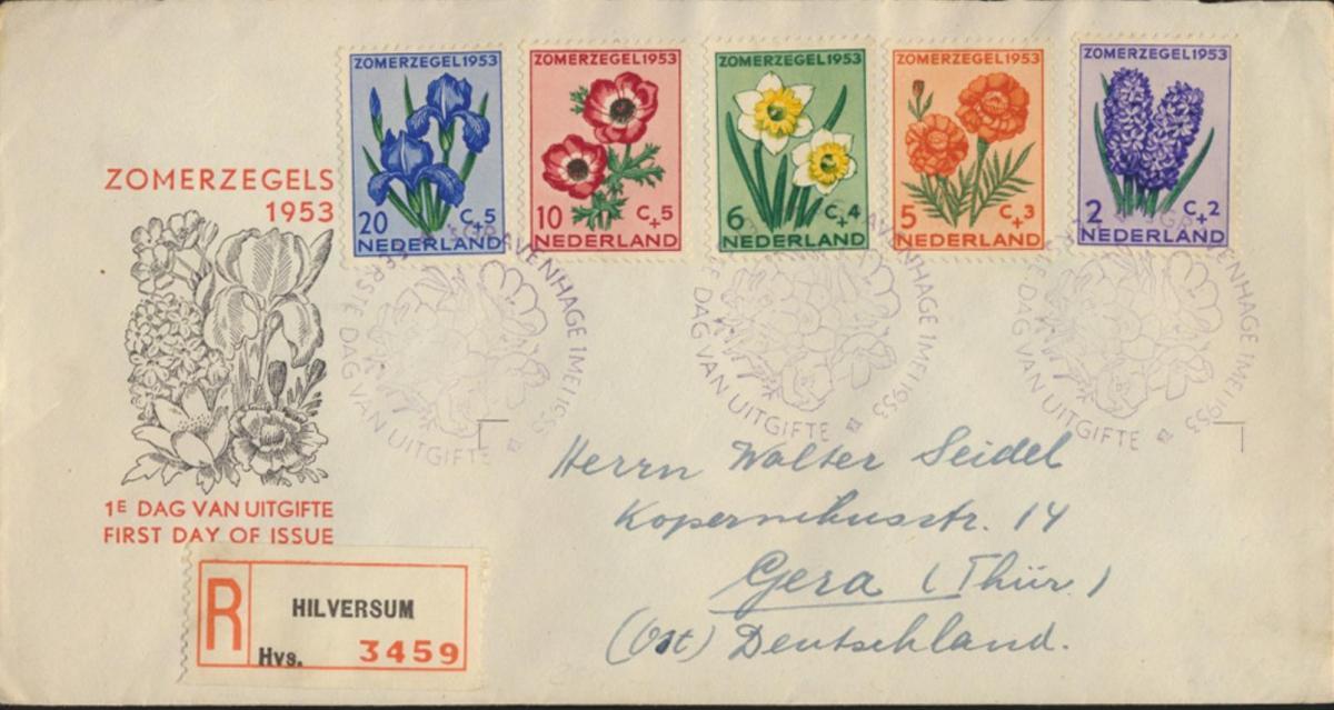 Niederlande R Brief 607-611 Sommermarken Fürsorge FDC echt gelaufen n. Gera 1953
