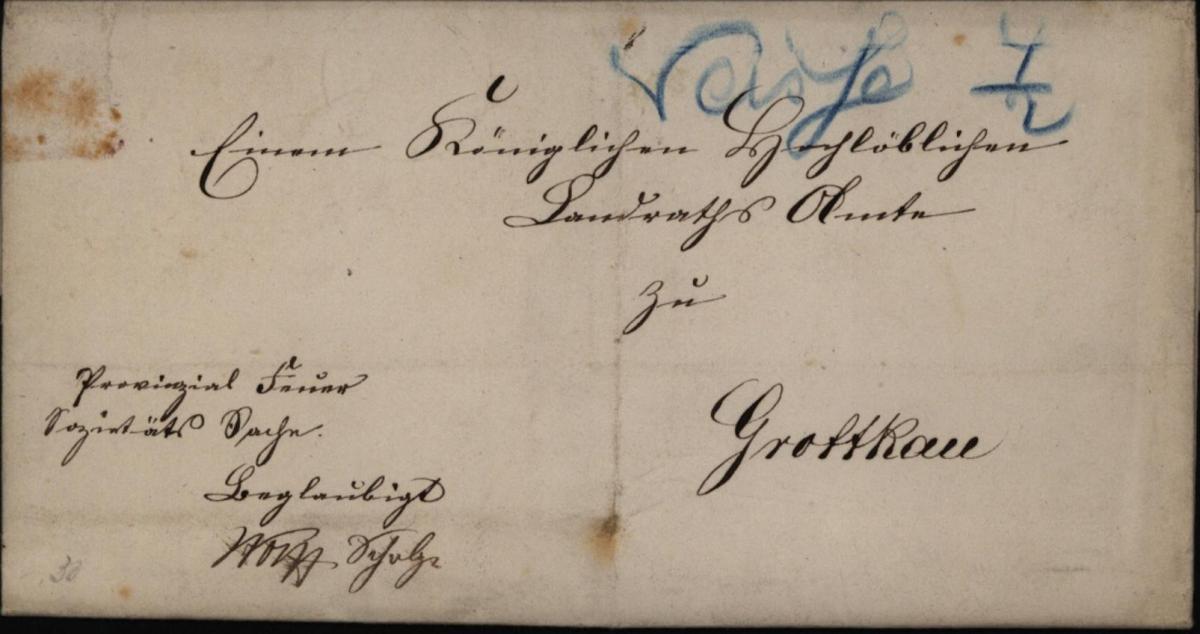Preussen Brief Neisse 4/2 selt. handschriftliche Aufgabe in blau nach Grottkau 0