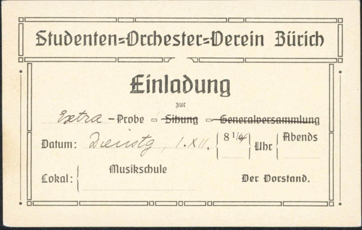 Schweiz Privatganzsache Musik Studentika Studenten Einladung Orchester Zürich