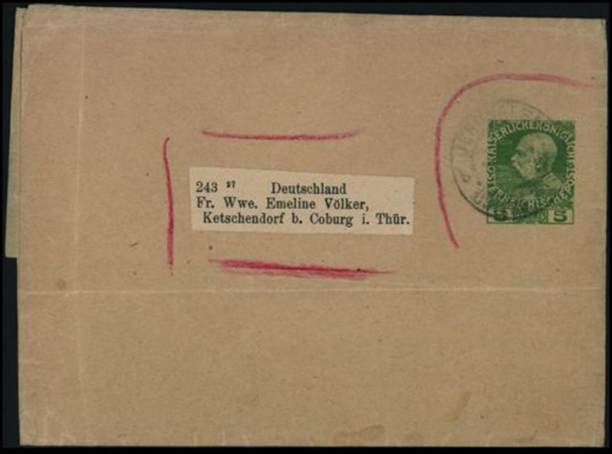 Österreichische Post in der Levante Streifband Kaiser 5c nach Ketschendorf