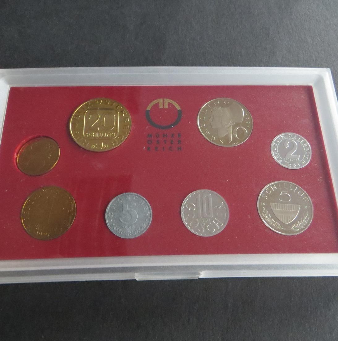 Österreich 1991 offizieller Kursmünzsatz Original-Bliesterpack PP