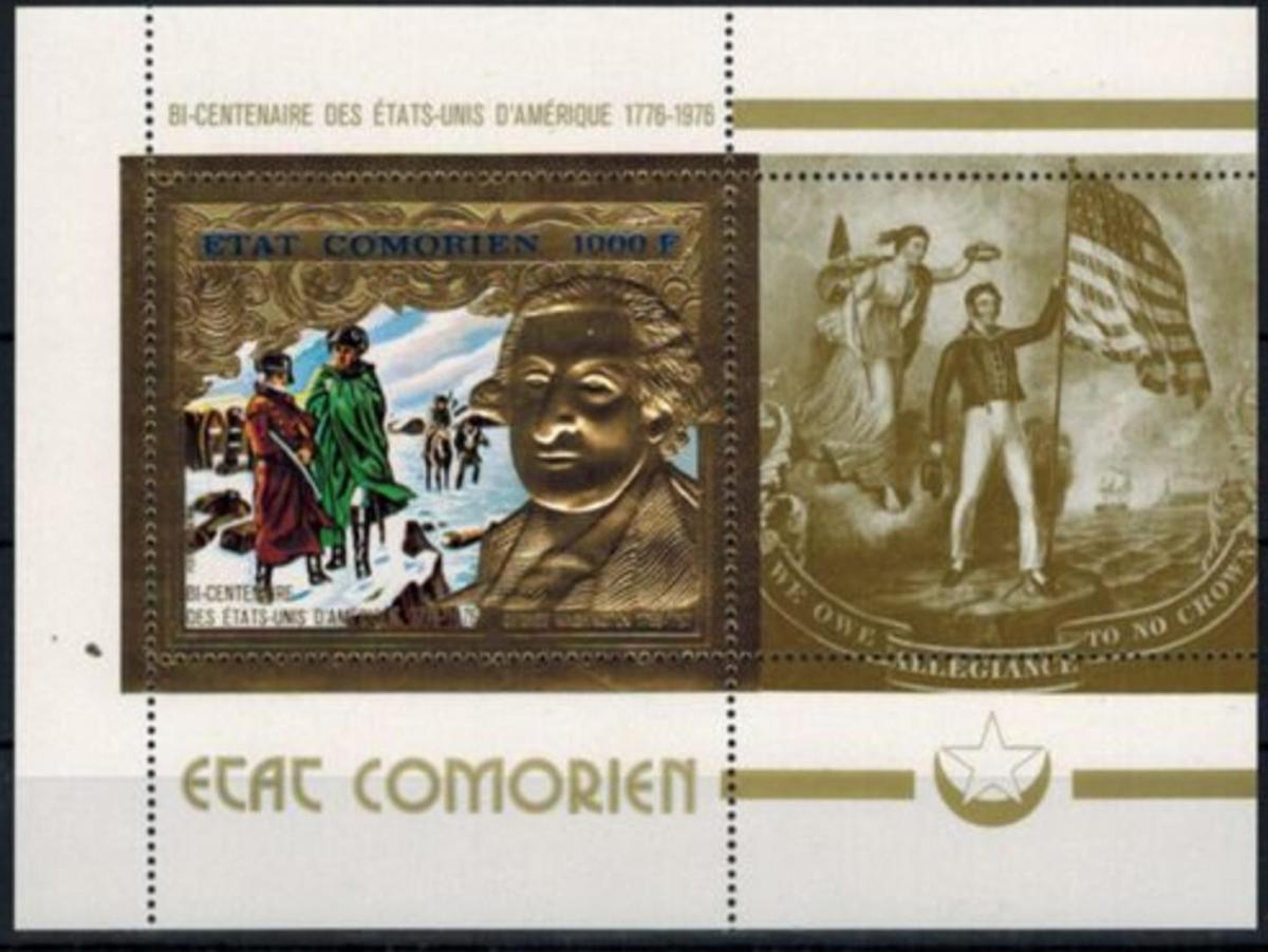 Komoren zwei Blöcke 200 Jahre USA, George Washington u. Jones, Prägedruck Gold 0