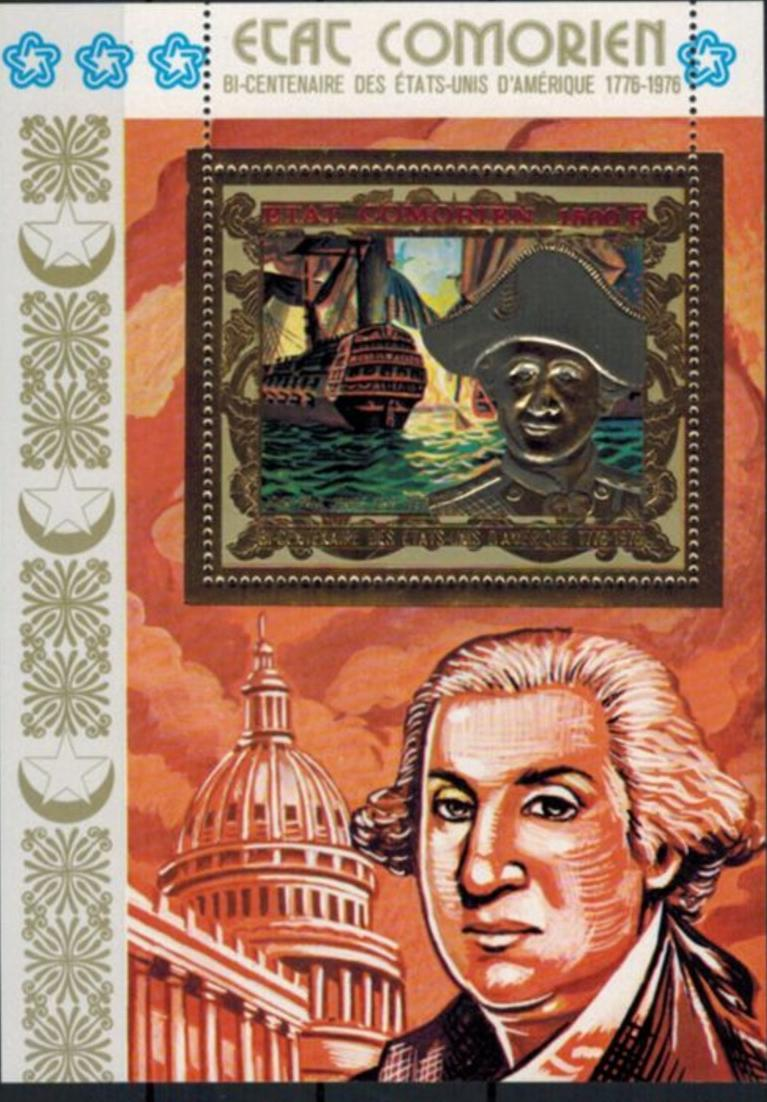 Komoren zwei Blöcke 200 Jahre USA, George Washington u. Jones, Prägedruck Gold 1