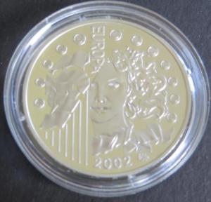 Münze Frankreich 2002  1 1/2 Euro Europ. Währungsunion Silbermünze PP